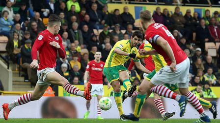 Nelson Oliveira of Norwich has a shot on goal against Barnsley. Picture by Paul Chesterton/Focus Im