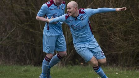 Luke Tuttle scored a hat-trick for Spixworth. Picture: Nick Butcher