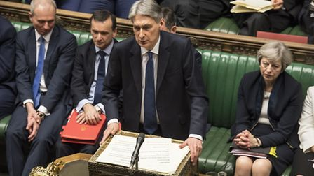 Philip Hammond MP, Chancellor of the Exchequer, reads out his plans for the 2017 Spring Budget in t