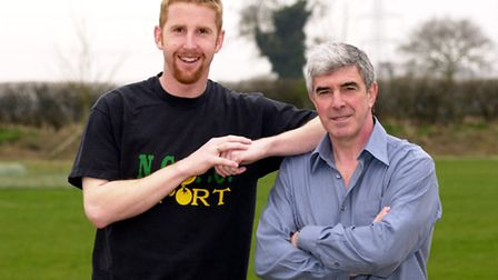 Iwan Roberts with a former Canaries boss, Bryan Hamilton. Picture: Archant Library.