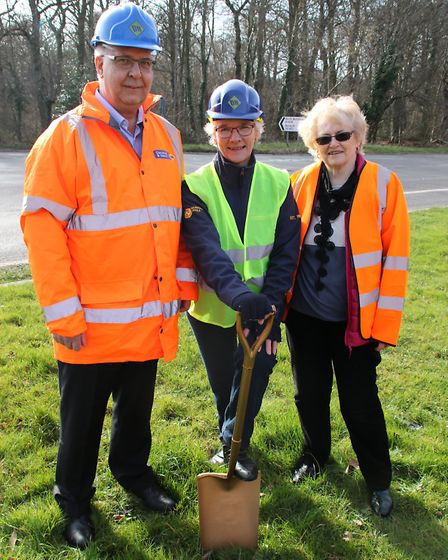 Councillor Hilary Cox, centre, and Councillor Sue Arnold, right, join Russell Fitzjohn, operations d