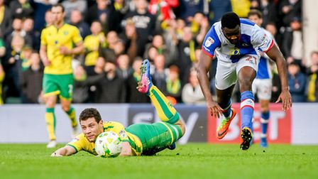 Yanic Wildschut is fouled by Hope Akpan, during Norwich City's draw at home to Blackburn. Picture: M