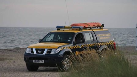 The coastguard teams rescued a man from the sea near Lowestoft on Sunday evening. Picture submitted