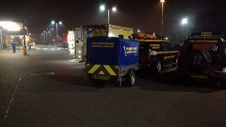 Several emergency services helped rescue a male person from the sea near Lowestoft last night. Pictu