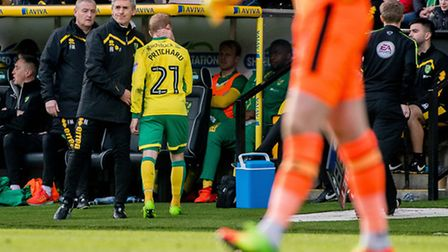 Alan Irvine consoles Alex Pritchard after the forward made way on Saturday. Picture: Matthew Usher/F
