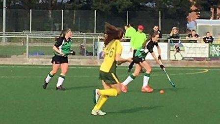 Catherine Brewster on the ball for Broadland, backed up by star player Natasha Blyth, during Saturd