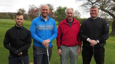 The Leeway charity golf day last year. Ex-Norwich City footballers Rob Newman (right) and Dean Ashto