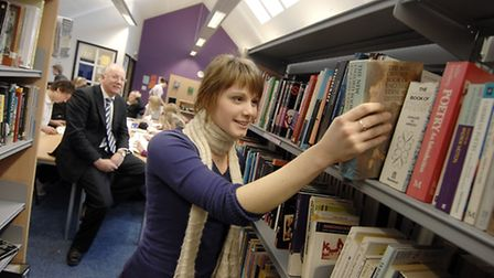 The new extension at Dereham Sixth Form Centre. Student Jess Lawrence using the new library in 2007,