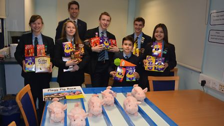 Students at Flegg High School prepare for their Easter fayre which is popular with the school and wi