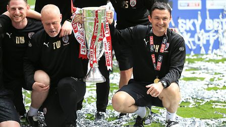 Paul Heckingbottom celebrates after winning the League One play-off final at Wembley. Picture: PA