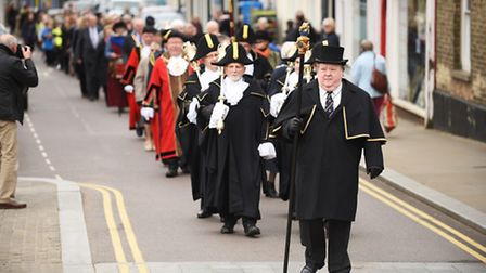 The annual St Winnold's parade makes its way through the streets of Downham Market. Picture: Ian Bur