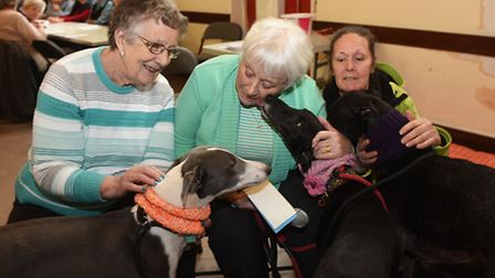 Action for Greyhounds at Stalham Good Fellowship Club. Pauline Catchpole, left, and Joyce Bowler, ce
