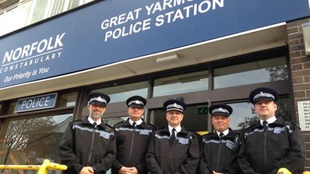 Supt Roger Wiltshire, centre, with the senior team at Great Yarmouth police station. Picture: George