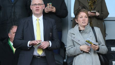 Norwich Interim Chief Executive Steve Stone and his wife before the Sky Bet Championship match at th
