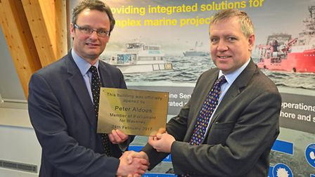 Peter Aldous, Waveney MP (left) with Nick Henry, CEO of James Fisher and Sons at the opening of Jame