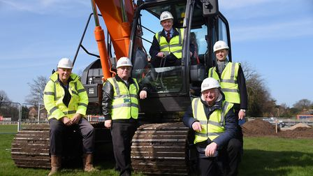 Dave Chilcott, left, managing director Healthcare and Community Construction, with councillors and D
