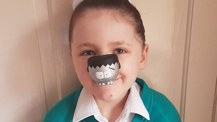 Amber Guymer, 6, from Dereham, is the lucky owner of an ultra rare silver nose for Red Nose Day