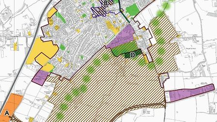 A graphic from the Attleborough Neighbourhood Plan, showing the proposed link road to the south of t