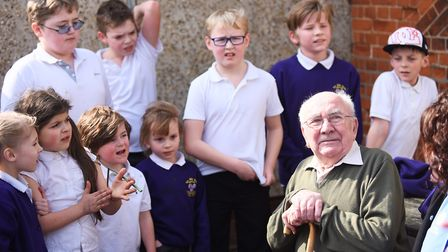 Ernie Germaney (85) went back to his old school at Ten Mile Bank for the afternoon. Picture: Ian Bur