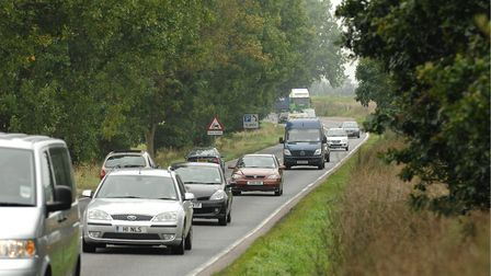 The single carriageway A47 at between Blofield and North Burlingham which is set to be dualled. Pi