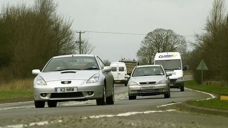 The A47 at Hockering where the busy traffic still travels on single carriageway. Picture: Simon F