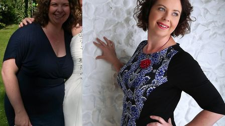 Before and after photos of Mandy Betts, who is starting a new Slimming World group. Picture: Courtes
