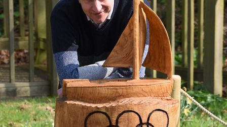 Simon Partridge, How Hill Trust director, with the chainsaw carving of the Lalage, the British gold