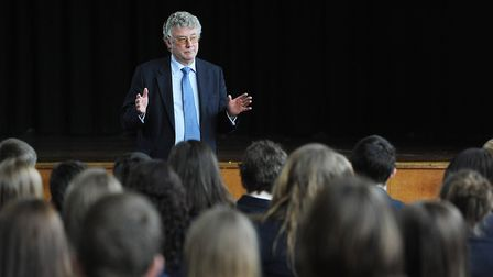 Ian Cleland of the Academy Transformation Trust talking to students at Nicholas Hamond Academy. Pict