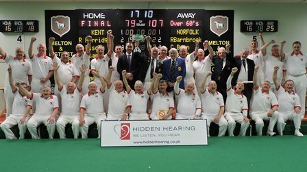 Norfolk celebrate after winning the national men's over 60 inter county title. Picture: David Rhys J