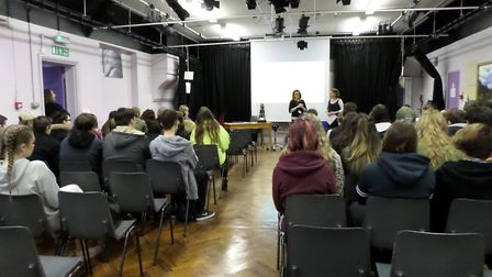 Vattenfall's local liaison officer, Sue Falch-Lovesey, introduced students at Dereham Sixth Form Col