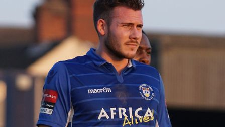 Shaun Bammant scored twice for Lowestoft against Folkestone. Picture: Shirley D Whitlow
