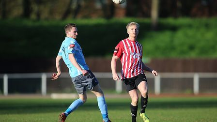 Alex Bentley of Hornchurch and Adam Hipperson of Norwich during AFC Hornchurch vs Norwich United, R