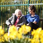 Enjoying the sunshine in Watton are (L) Betty Oliver and Tracy Winston. Picture: Ian Burt