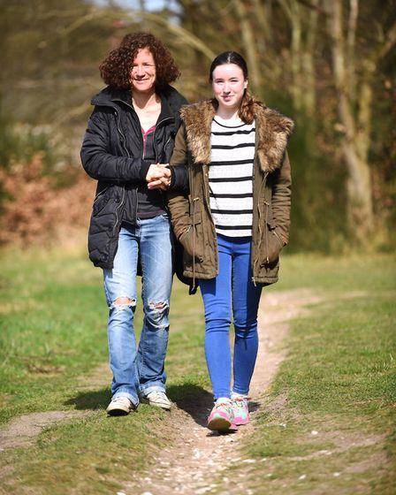 Enjoying the sunshine at Brandon Park are Laura Sampson and her daughter Caitlyn (15). Picture: Ian
