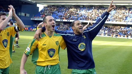 Norwich City's Craig Fleming and Leon McKenzie, right, celebrate City's 2-1 win at Portman Road in D