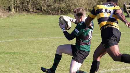 Jordan Mustard in action for North Walsham at Letchworth. Picture: Hywel Jones