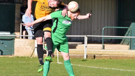 Jacob Short heads clear during Gorleston's draw with Stanway. Picture: David Hardy.