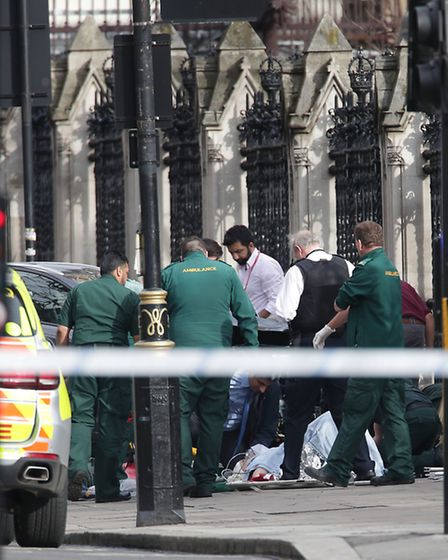 Palace of Westminster, London, after policeman has been stabbed and his apparent attacker shot by of