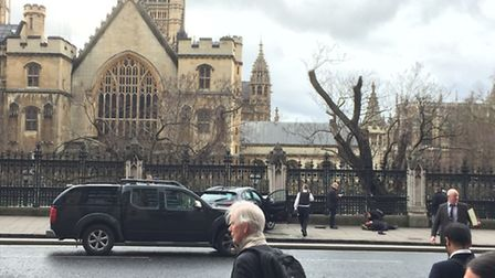 A crashed car on Bridge Street by the Palace of Westminster, London, after policeman has been stabbe