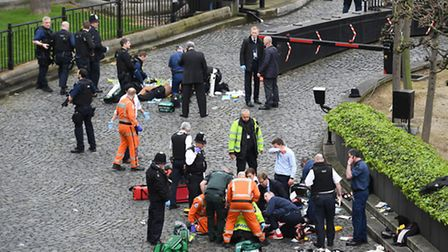 Emergency services at the scene outside the Palace of Westminster, London, after policeman has been