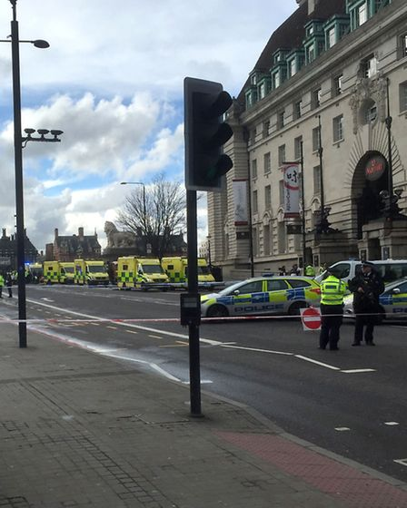 Ambulances on Westminster Bridge, London after policeman has been stabbed and his apparent attacker