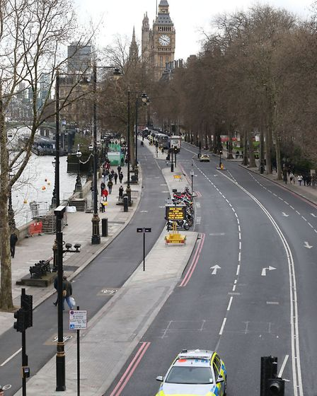 The view along Victoria Embankment towards parliament, after a policeman has been stabbed and his ap