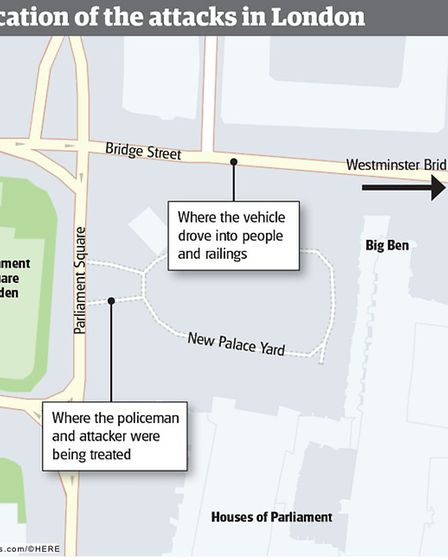 The location of the terrorist attacks in London. Graphic: KAYLEIGH O'DELL
