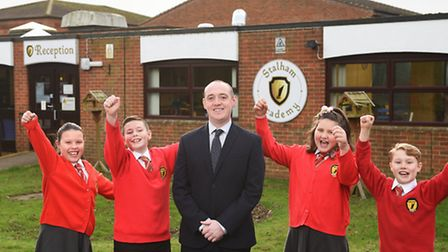 Stalham Academy headteacher Glenn Russell and pupils. Picture: ANTONY KELLY