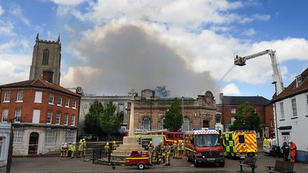 A flashback to the fire in Fakenham Market Place in May, 2014. PHOTO: ANTONY KELLY