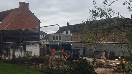 The site of the Fakenham fire pictured this week.