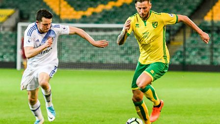 Mitchell Dijks of Norwich City U23 during the Premier League International Cup Semi-Final match at C