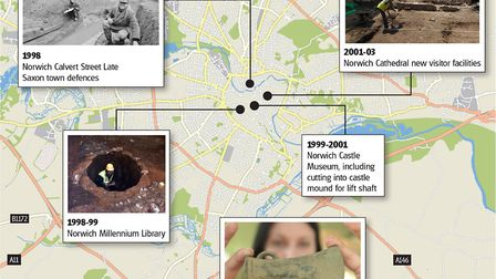 Some of the archaeological excavations the unit has carried out. Graphic: Kayleigh O'Dell.