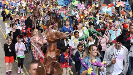 Lord Mayors Celebrations 2016 - the procession making its way through Norwich city centre. Photo : S