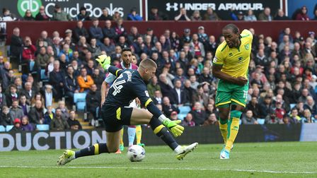 Cameron Jerome of Norwich misses a great chance during the Sky Bet Championship match at Villa Park,